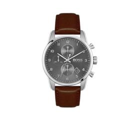 Hugo Boss Horloge Skymaster Zilverkleurig Horloge met Bruine Band van Boss