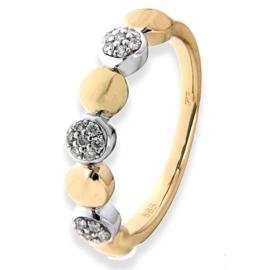Excellent Jewelry Geelgouden Ring met Witgouden Diamant Cirkels
