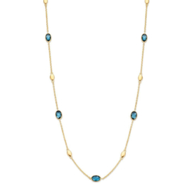 Excellent Jewelry Geelgouden Collier met London Blue Topaas