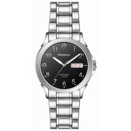 Prisma Zilverkleurig Brace Solid Heren Horloge met Zwarte Wijzerplaat