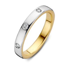 Excellent Jewelry Bicolor Ring met 3 0,10 crt. Briljanten