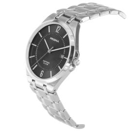 Prisma Zilverkleurig Heren Horloge met Zwarte Wijzerplaat
