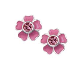 Roze Bloem Oorknoppen van Zilver met Roze Zirkonia