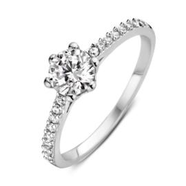 Excellent Jewelry Witgouden Ring met Zirkonia en Zirkonia Rij