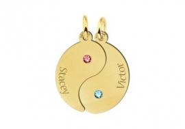 Gouden Yin Yang Hanger Symbool met Namen Names4ever
