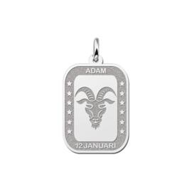 Rechthoekige Steenbok Sterrenbeeld Hanger van Zilver