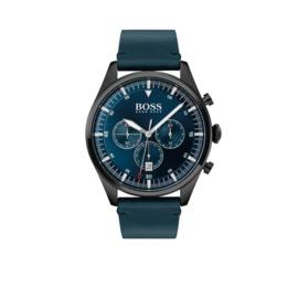 Hugo Boss Horloge Pioneer Zwart Horloge met Blauwe Band van Boss
