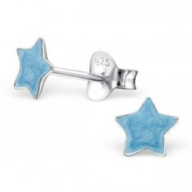 Zilveren Kinderoorbellen Blauwe Ster