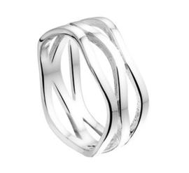 Brede Opengewerkte Intrigerende Ring van Gepolijst Zilver