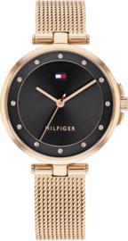 Tommy Hilfiger Roségoudkleurig Dames Horloge met Zwarte Wijzerplaat