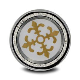LOCKits Zilverkleurige Munt met Goudkleurige Decoraties en Zirkonia's 33mm
