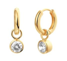 Goudkleurige Klapoorringen met Kleurloze Zirkonia's voor Dames