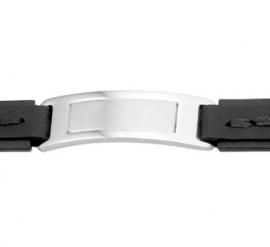 Heren Armband van Zwart Leer met Zwart Stiksel