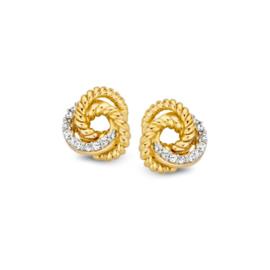 Excellent Jewelry Bicolor Oorstekers met Zirkonia