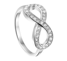 Luxueuze Zilveren Ring met Zirkonia Infinity Kopstuk