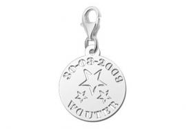 Names4ever Sterretjes Naambedel van Zilver met Naam en Datum