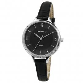 Prisma Dames Horloge P.8391 Zwart lederen Horlogeband