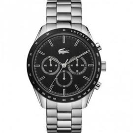 Zilverkleurig Boston Heren Horloge met Zwarte Wijzerplaat van Lacoste