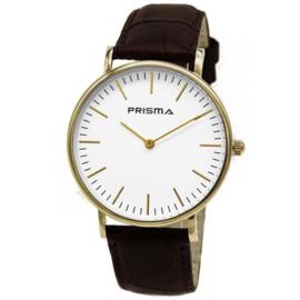 Prisma Goudkleurig Unisex Horloge met Bruine Band