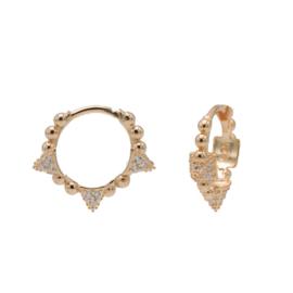 Roségoudkleurige Oorringen met Bolletjes & Zirkonia's | Karma Jewelry