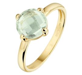 Geelgouden Ring met Groene Amethist Edelsteen