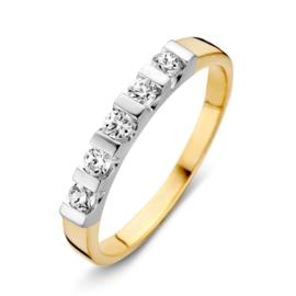 Excellent Jewelry Bicolor Dames Ring  met Witgouden Zirkonia Kopstuk