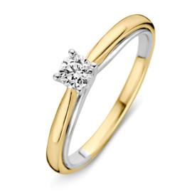 Excellent Jewelry Bolstaande Bicolor Ring met 0,31 crt. Briljant