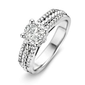 Excellent Jewelry Brede Decoratieve Witgouden Ring met Briljanten