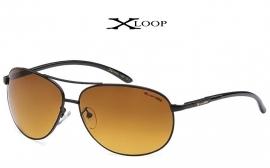 Zwarte Zonnebril met HD+ Goudgetinte Glazen van X-Loop