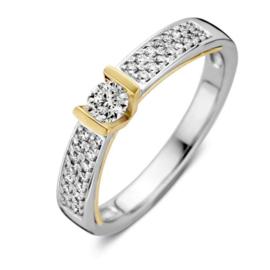 Excellent Jewelry Bicolor Ring met Briljanten en Briljant 0,38 crt. Kopstuk