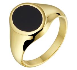 Massieve Geelgouden Onyx Ring