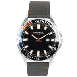 Rond Prisma Heren Horloge met Grijze Horlogeband en Oranje Stiksel