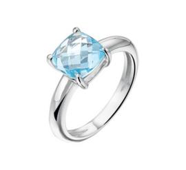 Bolle Zilveren Ring met Rhodium en Blauwe Topaas