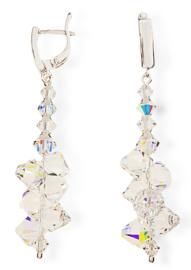 Bicone Oorbellen van Zilver met Gekleurde Swarovski Kristallen
