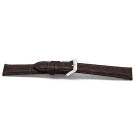 Horlogeband H348Z Croco Bruin Zilver 22x20 mm