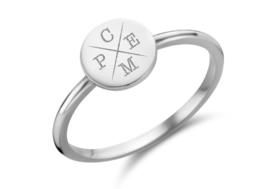 Zilveren Disc Ring met Vier Initialen | Names4ever