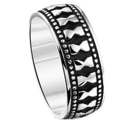 Geoxideerd Zilveren Graveer Heren Ring met Zilveren Decoratieve Elementen