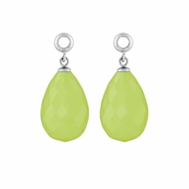 Creoli Hangers met Cat's Eye Pastel Green Facetgeslepen Glasbedel
