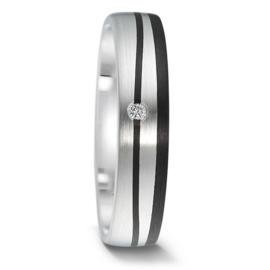 Slanke Matte Zilveren Dames Trouwring met Carbon Lijnen en Diamant