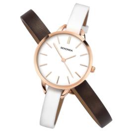 Sekonda Roségoudkleurig Dames Horloge met Dubbele Horlogeband