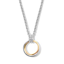 Excellent Jewelry Goud met Zilveren Cirkel Hanger met Zirkonia Oogje
