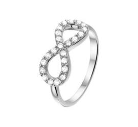 Gerhodineerd Zilveren Ring met Zirkonia Infinity Kopstuk