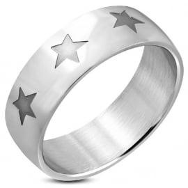 Stalen Sterren Ring (Graveren mogelijk)