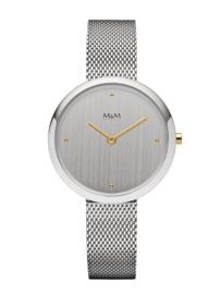 Zilverkleurig Dames Horloge met Zilverkleurige Milanese Horlogeband van M&M
