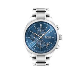 Hugo Boss Horloge Grand Prix Zilverkleurig Horloge met Blauwe Wijzerplaat van Boss