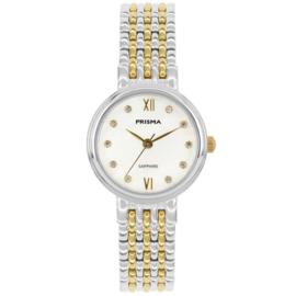 Prisma Luxueus Zilver- en Goudkleurig Dames Horloge met Kleurloze Zirkonia's