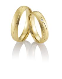 Breuning Gouden Astarte Trouwringen Set met Diamant