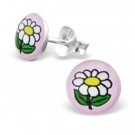 Fleurige Bloem Zilveren Oorbellen - Children's earring