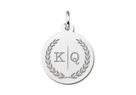 Zilveren Ronde Initialen Hanger met Lauwerkrans | Names4ever
