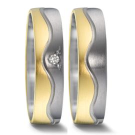 Matte 9 Karaat met Zilveren Trouwringen Set met Diamant